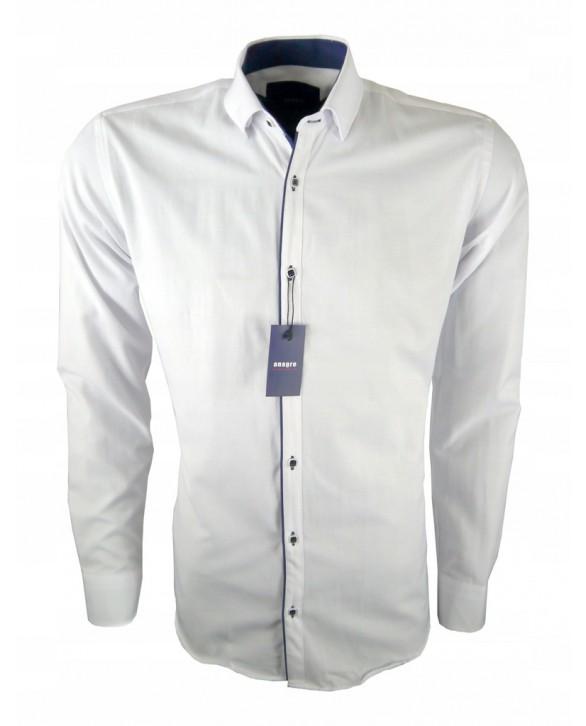 755bc2e17d2a KOSZULA biała granatowa plisa KOLOR BIAŁY Koszule-rozmiar M Koszula- Fason( slim regular ) SLIM